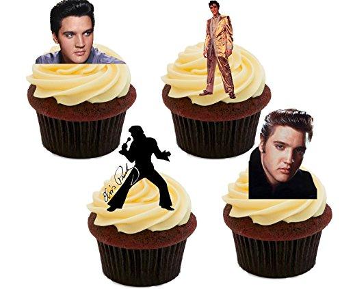 Elvis Presley Bilder, essbaren Kuchen Dekorationen–Stand-Up Wafer Cupcake Topper, 12er-Pack (Presley-dekorationen Elvis)