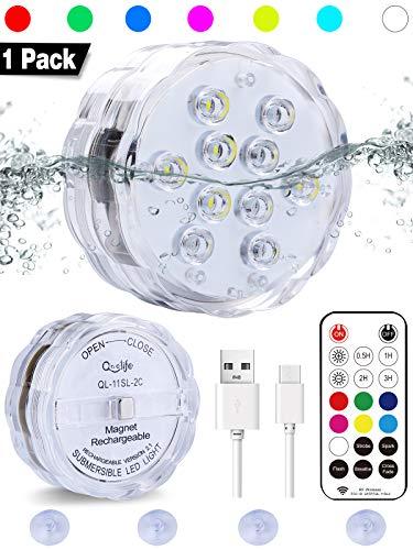 """Qoolife Wiederaufladbare Unterwasser Led mit Fernbedienung - 3,3"""" USB magnetisch Multi Farbwechsel RGBW wasserdichte led leuchten unterwasser led für Vase Base Party,Weihnachten,Fish Tank Dekorationen"""