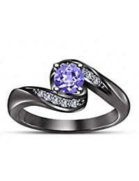 Gemstar Jewellery Engagement Lotus Earrings Screw Back In 14k Rose Gold Filled Excellent Shape Tanzanite