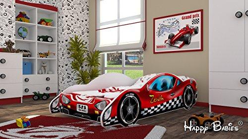 Autobett Kinderbett Juniorbett 160x 80 cm aus hochwertiger Spanplatte mit Matratze. Verschiedene Motive zur Auswahl. Abgerundete Kanten, Farbe:Red