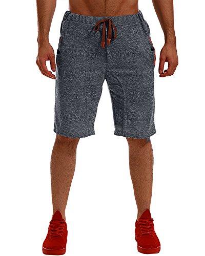 MODCHOK Herren Shorts Kurze Jogginghose Sportshorts Bermudas Freizeitshorts Kurzhose Freizeitshose 1 Schwarz L