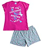 ThePyjamaFactory - Pijama corto para niñas, diseño con texto en inglés «Lie Ins Unicorns Besties Wifi», de 9 a 16 años, color rosa Rosa rosa 13-14 Años