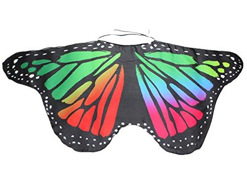 OVERDOSE Damen Faschingskostüme Kinder Mädchen Jungen Butterfly Wing Cape Schmetterling Flügel Kostüm Schmetterlingsflügel Erwachsene Karneval Kostüm Kimono Schal Cape Tuch (118*48CM, A-Multicolor)