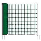 Voss.farming Rete pollame classic per recinzioni non elettrificabili, 112 cm di altezza e 50 m di lunghezza, a punta doppia, dotata di 16 pali, colore verde