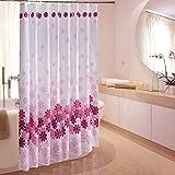 Blumen Duschvorhang Anti-Schimmel, Wasserdicht Polyester Duschvorhang mit Haken 120/150/180/200/220/240 x 200cm Rosa