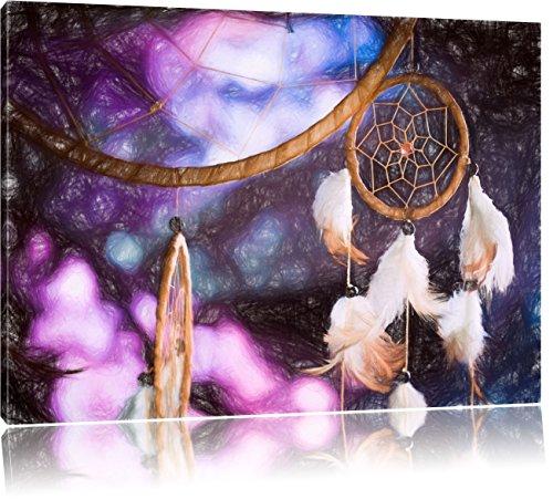Traumfänger mit lilanem Hintergrund Kunst Buntstift Effekt, Format: 100x70 auf Leinwand, XXL riesige Bilder fertig gerahmt mit Keilrahmen, Kunstdruck auf Wandbild mit Rahmen, günstiger als Gemälde oder Ölbild, kein Poster oder Plakat