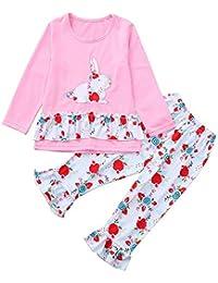 JYC Conjuntos Bebes,Conjuntos Bebe NiñA Algodon,Niños Bebé Chicas Largo Mangas Conejo ImpresiónTop + Pantalones Ropa Equipar Conjuntos