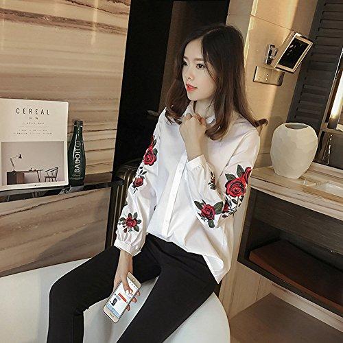 Juleya Femmes Élégant Blouse - Mesdames Pull Élégant Casual Rose Broderie Chemise À Manches Longues Blouse Tops M-XXXL Blanc