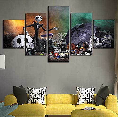Wall Art Malerei 5 Panel Wall Art Halloween Cry The Wall Painting Pictures Print On Canvas The Picture for Home Modern Decoration Piece,A,20x35x2+20x45x2+20x55x1