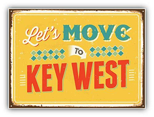 Tiukiu Let's Move To Key West - Etichetta Adesiva in Vinile per Laptop, Frigorifero, Chitarra, Auto, Moto, Casco, Cassetta degli Attrezzi, 10,2 cm di Larghezza, Vinile, Multi, 4 inch in Width