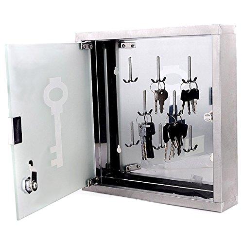 Goods & Gadgets Schlüsselschrank aus Edelstahl Schlüsselbrett Schlüsselkasten Schlüsselschränkchen mit Glastür für die Wand