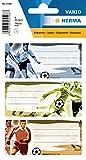 Herma 5598 Namens-Heftetiketten für die Schule, Motiv Fußball, Format 7,6 x 3,5 cm, Inhalt pro Packung: 9 Etiketten