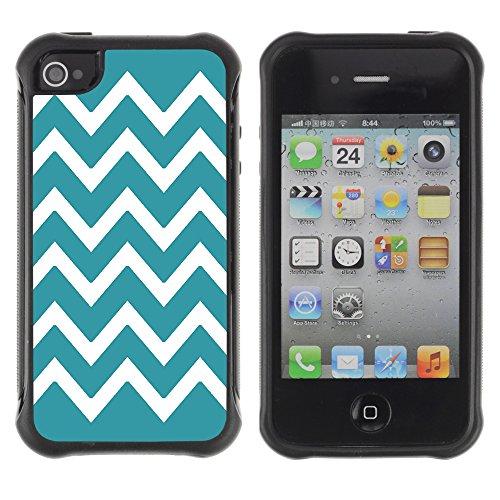 Graphic4You Chevron Muster Harte Hülle Case Tasche Schutzhülle für Apple iPhone 4 und 4S (Marineblau) Turquoise