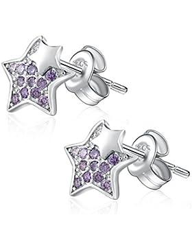 925 Sterling Silber, Sterne mit Lila Zirkonia Ohrstecker Ohrringe für Damen Kinder, Modeschmuck