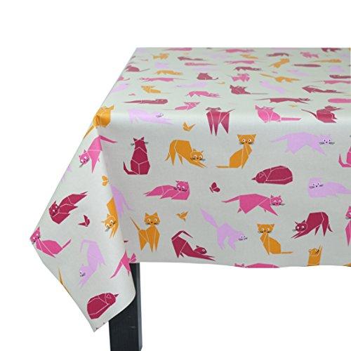 Flor de Sol n160echar–Mantel cuadrado algodón plastificado morado/rosa/naranja/gris/blanco 160x 160cm