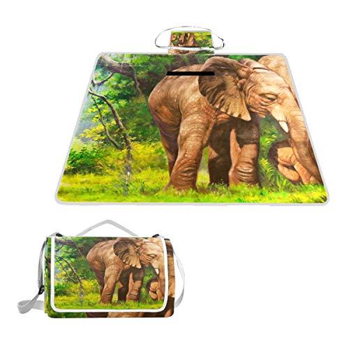 TIZORAX - Manta Impermeable para Picnic y Senderismo, diseño de Elefantes