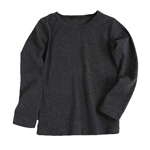 Kinderkleid Honestyi Baby Nette Jungen Mädchen runder Kragen Lange Hülsen Oberseiten Süßigkeits Clour Familien Kleidung (Dunkegrau,100)