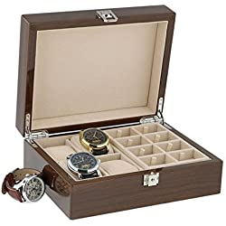 Lacquered Walnut Watch Collectors Box for 4 Wrist watches and 16 Pairs of Cuffliks by Aevitas