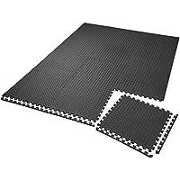 TecTake Conjunto de esteras de protección esteras para suelo | Antideslizante, repelente de suciedad | Sistema empotrable ampliable - varias cantidades i modelos (12x negro | no. 402255)