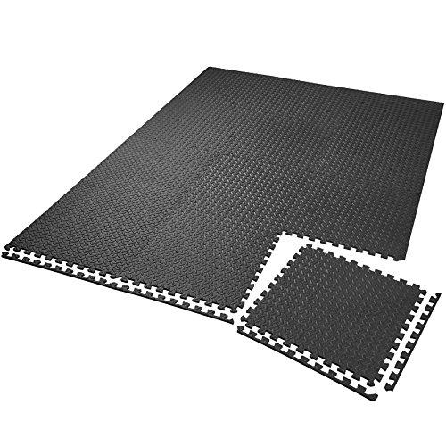 tectake Lot de Tapis de Protection Tapis de Fitness | Antidérapant, antitaches | Système emboîtable Extensible - diverses quantités et modèles (12x Noir | no. 402255)