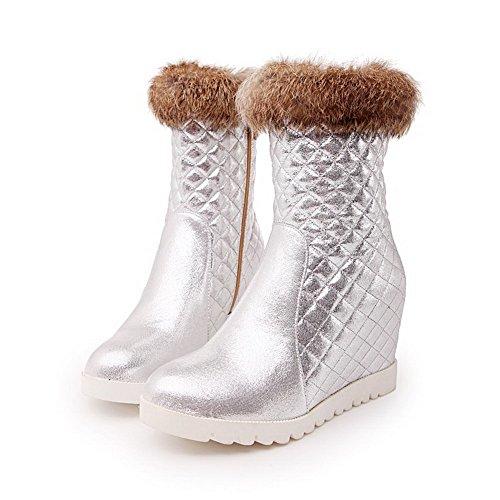 AgooLar Damen Hoher Absatz Rein Rund Zehe Reißverschluss Stiefel Silber