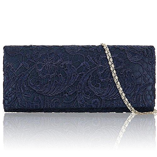 Zarla-Borsa da donna, motivo floreale in pizzo, da donna, per abiti da sera, abiti da sera Blu (Blu)