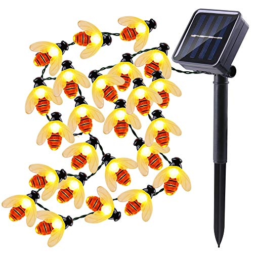 Qedertek Solar Biene Lichterkette 6m 30 LED Außenlichterkette, Wasserdicht, Beleuchtung für Hochzeit, Garten, Weihnachten usw. (warmweiß)