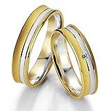 CORE by Schumann Design Trauringe/Eheringe aus 585 Gold ( 14 Karat ) Gelbgold/Weissgold Bicolor mit echten Diamanten GRATIS Testringservice & Gravur 19005821