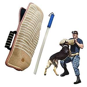 MelkTemn Equipement d'Education de Chien Chiot Manche de Protection Manche Anti Morsure avec Baton Parure de Dressage pour Le Travail De Jeunes Chiens Puppy