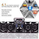 """Oqina 4.1 Channel 4"""" Bluetooth Channel Multimedia 4.1 Home Theatre System With Sub Woofer, FM Radio, Support USB/SD Card Reader (Black)"""