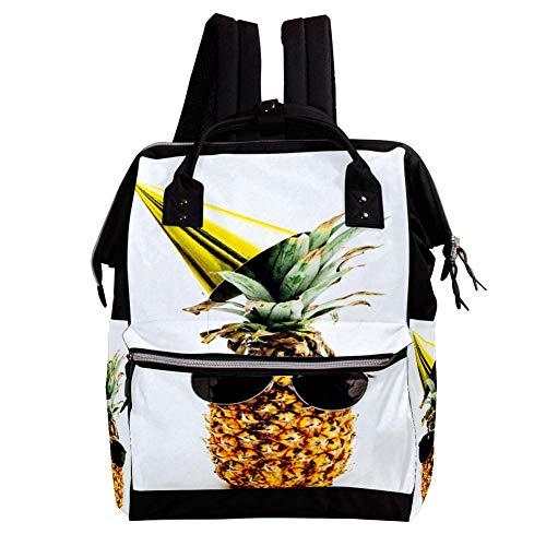 Ananas mit Sonnenbrille Wickelrucksack Wickeltasche große Kapazität der Mehrfachtasche für Mutterschaftsbabywindeländerung Mama Multifunktionsreiserucksack,27x19.8x36.5cm
