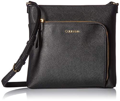 Calvin Klein Damen Leather Top Zip Crossbody Hudson Saffiano North/South, Leder, Reißverschluss Oben, Umhängetasche, schwarz/Gold, Einheitsgröße (Cross Body South)