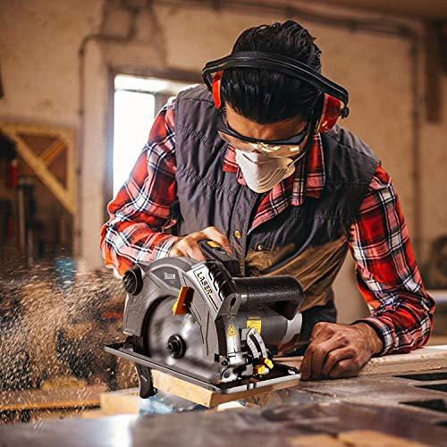 Sierra Circular  TECCPO 1500W Sierras Circulares 5800RPM,2 Hojas Ø185mm  Profundidad de Corte 63mm (90°)  45mm (45°)  2m Cable  Protector de Aluminio  Motor de Cobre Puro   TACS01P