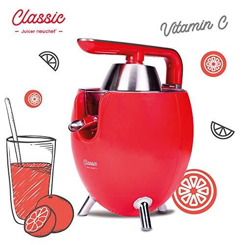 NEW CHEF - Exprimidor Zumo Eléctrico Juicer Classic Rojo para Naranjas y Cítricos, 300W con Doble...