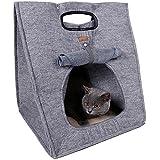 YGJT Cama de Gato Transportín para Gato Perro Pequeño Fieltro de Lana Plegable Fácil para LLevar con Asa Color Marrón 48cm*40cm*40cm Color Gris