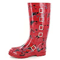 Spot On Womens/Ladies Mottled Butterfly Design Wellington Boots with Buckle Detail