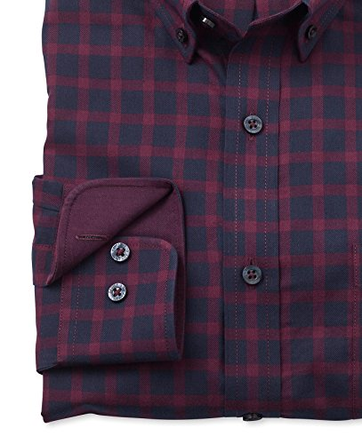Savile Row Men's Navy Burgundy Brushed Twill Check Slim Fit Casual Shirt Navy Burgundy