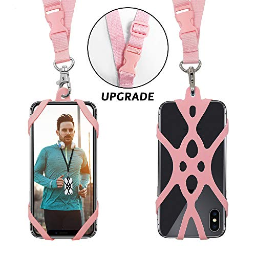 ROCONTRIP Handy Smartphone Telefon Lanyard Strap, Universal Fall Abdeckung Halter Lanyard Halskette Handschlaufe mit ID Card Slot für iPhone X 8 7 6 S 6 Plus Galaxy S7 S6 Huawei P10 P9 (Rose)