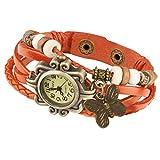 Taffstyle Damen-Armbanduhr Analog Quarz mit Leder-Armband Uhr Vintage Retro Schmetterling Orange