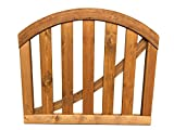 dekorative Tür Tor Pforte aus Holz B100 x H70/85 cm im Farbton braun