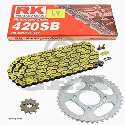 Kettensatz geeignet für Derbi Senda 50 Enduro R X-Treme 09-16 Kette RK LY 420 SB 130 offen GELB 11/53 -