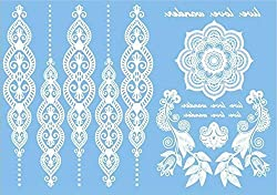COKOHAPPY White Lace Temporary Tattoo , Mandala Flower Henna