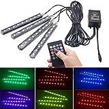 Bande de voiture RGB LED Light Car Styling Lampes d'ambiance décoratives de la voiture Eclairage intérieur de la voiture Télécommande sans fil/Commande vocale Couleur: Télécommande