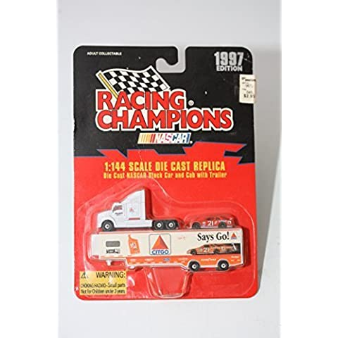 1997 Edition Racing Champions Michael Waltrip #21 Citgo 1:144 Die Cast Replica Truck Transporter and Stock Car by Racing Champions