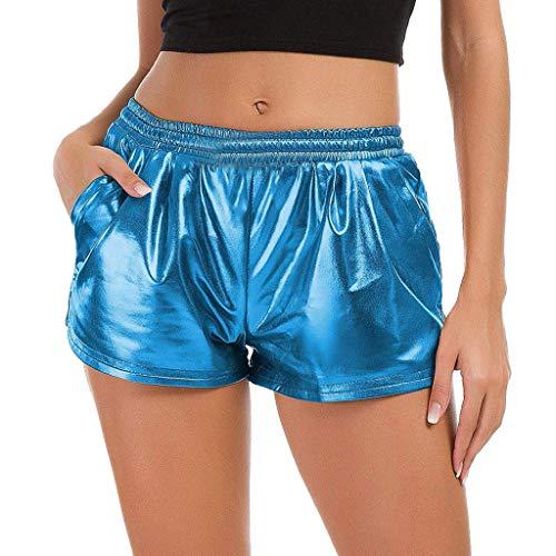 LANSKIRT Mode Frauen Hohe Taille Yoga Sport Hosen Shorts Shiny Metallic Hosen Leggings (XL, Blau)