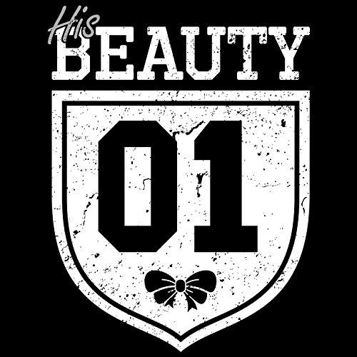 Fashionalarm Damen T-Shirt - His Beauty 01 Vintage Badge | Fun Shirt als Valentinstag & Jahrestag Geschenk Idee für verliebte Paare Schwarz