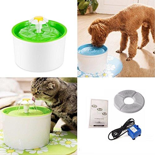 Pet Mate Brunnen Wasser Futterspender für Katze Hund Tiere, leise automatische Box Wassernapf Dispender, 1.6L (54oz) grün