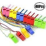 JZZJ 40 Stuks Plastic Fluitjes met Lanyards voor Party Sports, 5 Kleuren
