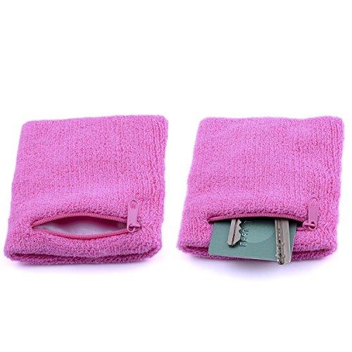 The Friendly Swede 2er-Set Schweißarmband mit praktischer Reißverschlusstasche (Pink, 14-17 cm)