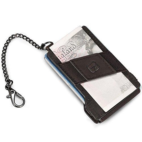 Teemzone RFID Cartera Tarjetero Pequeño Llavero Billetero de Tarjetas Billetes Piel (Café)